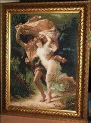 Вышивка,  картина художника Пьера Огюста Кота «Буря» ручна работа