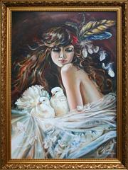 Продам авторскую картину  Она и голуби