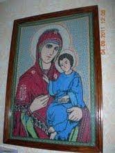 вышитый образ Богоматери с Младенцем