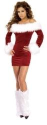 Новогоднее Платье для Снежной Леди с меховыми гетрами