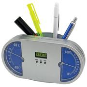 Предлагаю настольный набор для ручек с часами, термометром, гигрометром,