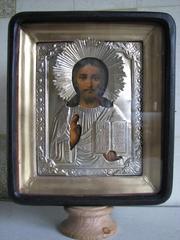 Икона старинная Господь Вседержитель 19 в. в  окладе. Возможна пересылка по Украине.