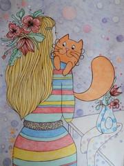 Рисунок цветными карандашами на бумаге