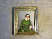 Миниатюра на фарфоре «Барышня в зеленом платье»