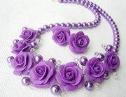 Бусики «Лиловые розы»