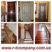 Лестница из дерева на заказ Киев,  межкомнатные деревянные двери