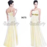 Вечернее платье из шифона жёлтое с белым.
