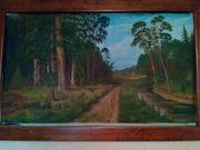картина маслом рисунок лесной пейзаж