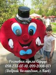 Ростовая кукла Сердце с аниматором на детский праздник,  день рождения