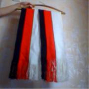 шарф длинный 2 м на 26 см белый с черным и красным
