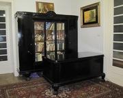 кабинет антикварный шкаф  + стол из дуба