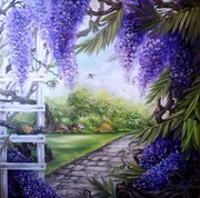 В саду от автора,  холст 80см/80см , масло