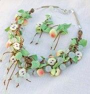 Колье бусы и серьги «Яблонька»