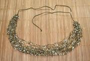 Ожерелья из бисера в ассортименте. Воздушка. Коричнево-оливковое с бел