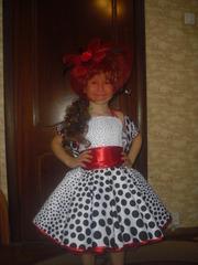 Детское платье в ретро стиле,  кукла,  божья коровка,  мухоморчик,  зонтик -прокат