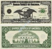 Купюра 1000000 $ один миллион долларов США банкнота бона VIP подарок