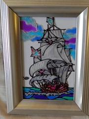 Витражная картина «Парусный фрегат»