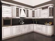 Классическая кухня в цвете Белый патина серебро