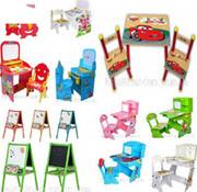 Детские кровати,  столики,  парты,  мольберты,  стульчик для кормления.