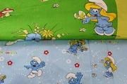 Постельное белье детское из сатина,  комплект Смурфики