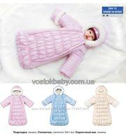 Зимний конверт для новорожденного с ручками на меху овчина ТМ Вaby Lin