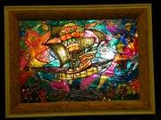 Витражная картина «Небесный корвет»