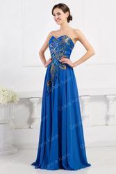 Синее вечернее платье в пол на выпускной