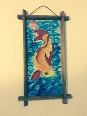 Картина золотая рыбка роспись на шелке