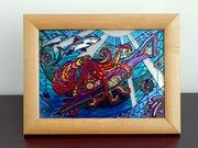 Витражная картина «Подводная схватка»
