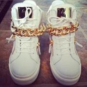 Белые кеды кроссовки Giuseppe Zanotti золотая цепь