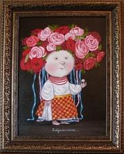 Е.Гапчинская картина #Хлебушек с салом,  копия маслом,  живопись
