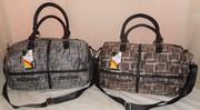женская большая чорная (pu) с серым коричневым сумка