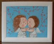 Картина маслом на подарок Гапчинская #Вместе,  копия