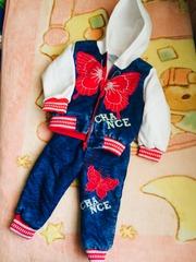 Тёплый костюм на меху для девочки 1-2года