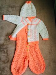 Вязаный теплый комплект на девочку от 6 месяцев до 1, 6 года