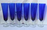 Продам  НОВЫЕ фужеры 6 штук,  синее  стекло, Чехия (Киев)