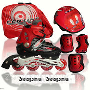 Комплект: Ролики Аktiv Sport.Red р.28-33 +защита+шлем