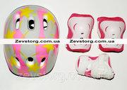 Ролики размер 28-33  Аktiv Sport  защита шлем розовый цвет