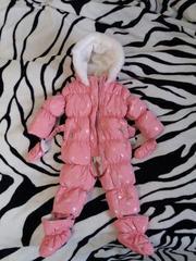 Комбинезон пуховик Chicco зимний пуховый детский 68р розовый
