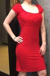 Платье летнее красное трикотажное натуральное 46 разм. Евро 38 размер.