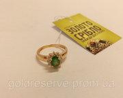 Продам Золотое кольцо с бриллиантами и изумрудом,  б/у,  скидки.