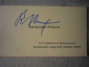 Визитка экс президента США Ричарда Никсона с его оригинальным автограф