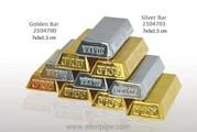 Зажигалка «Золотой слиток» оптом 2104701 металл газ пьезо Gold Bar