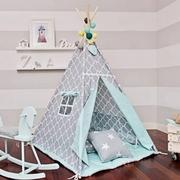Детская палатка Солнце бирюза с серым (комплект с подушкой)