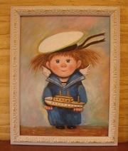 Картина в детскую комнату -Морячок,  маслом на холсте.