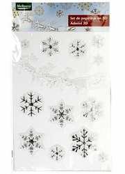 M19-570007,  Новогодний набор наклеек 3D Снежинки,  универсальное,  сер