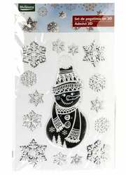 Новогодний набор наклеек 3D Снеговик,  серебристый-белый