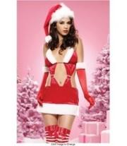 Новогоднее платье Санты с перчатками